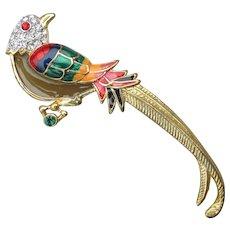 Vintage Premier Designs Plique a Jour, Enamel, Rhinestone Bird of Paradise Pin