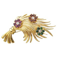 Signed CAROLEE 1990's Vintage Rhinestone Jeweled WHEAT Pin