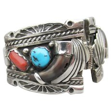 Signed FIJ Navajo Sterling Silver Turquoise, Coral, Bear Claw Vintage Watch Tips & Band