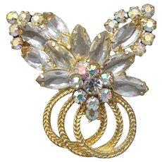 Juliana D&E Aurora Borealis Marquise Rhinestone & Gold-Tone Circles Rhinestone Pin