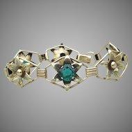 12k Gold Filled Sterling Silver Green Rhinestone 1940's Retro Bracelet, Providence Sterling Company