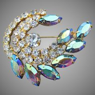 Juliana De Lizza & Elster Blue AB Marquise Rhinestone Comma Pin