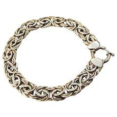 """Vintage Turkish Gold Filled Sterling Silver Flat Byzantine Link 8"""" Bracelet"""