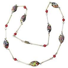 1950's Vintage Big Oval Venetian Art Glass Millefiori Bead & Bar Link Necklace