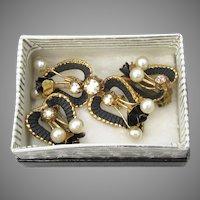 Vintage AUSTRIA Black Enamel ROSE, Faux Pearl & AB Rhinestone Pin & Earrings Set
