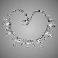 Juliana D & E Vintage Silver-Tone Heart Scroll Work Marquise Rhinestone Necklace