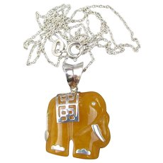 Yellow Jade Vintage Sterling Silver Elephant Pendant Necklace