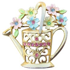 B.J. Beatrix Jewels Signed Vintage Flowers In Watering Can Rhinestone Enamel Pin