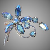 Early 1950's Vintage CORO Blue Aurora Borealis Rhinestone Flower Pin