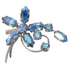 Early 1950's Vintage CORO Blue Aurora Borealis Rhinestone Flower Pin