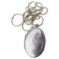 Vintage Engraved Large Oval Sterling Silver LOCKET Long Necklace