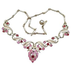 1960's Vintage Pink & Red Rhinestone Perfect Prom Necklace, MINT!