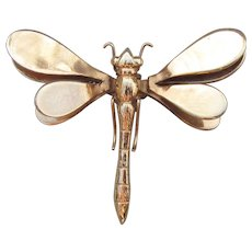 Signed REINAD 1940's Vintage Dragonfly Fur Clip or Pin