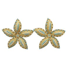Pair Sarah Coventry OCEAN STAR Vintage Faux Pearl & Turquoise Starfish Pins