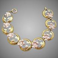 Pretty Antique Art Nouveau Yellow & Rose Gold Filled Flower Link Bracelet