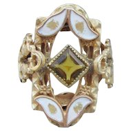 Antique Victorian Rolled Gold Topaz Paste & Enamel Ring
