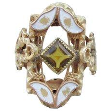 Antique Victorian Rolled Gold Topaz Paste & Enamel Ring