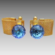 1960's Vintage Color Changing Crystal Ball Bead Gold Tone Mesh CuffLinks