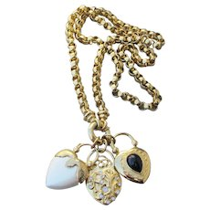 Chunky Joan Rivers Interchangeable Heart Charm Pendants Long Rolo Vintage Necklace, Book Piece!