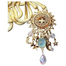 RARE Early Kirks Folly Zodiac Sun Astrological Charm Dangle Necklace, Intaglio Moonglow Pisces