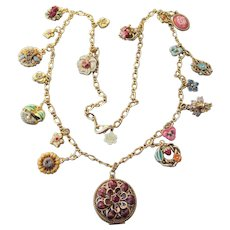 Joan Rivers Vintage Victorian Language of Flowers Complete Locket Necklace, 19 Charms