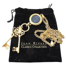Early Joan Rivers Black Intaglio Medallion Dangle Keys Necklace, Book Piece