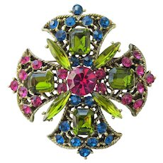 Spectacular Unsigned WEISS Vintage Maltese Rhinestone Cross Pin