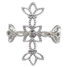 Sterling Silver Filigree Vintage CROSS Ring, Diamond Accent, Size 10