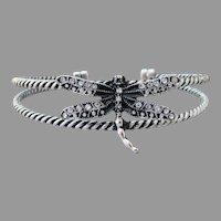 Rhinestone DRAGONFLY Vintage Twisted Wire Cuff Bracelet