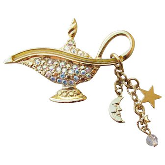 Kirks Folly Signed Vintage Genie Lamp Rhinestone & Charm Dangle Pin