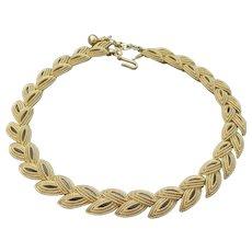 Signed TRIFARI Vintage Textured Gold Tone Leaf Link Necklace