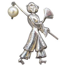 Signed LANG Vintage Sterling Silver Japanese Geisha with Faux Pearl Pin