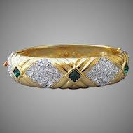 Nolan Miller Vintage Rhinestone Clamper Bangle Bracelet, In Pouch