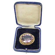 Antique Estate Victorian Rolled Gold & Amethyst Paste Brooch, Original Box