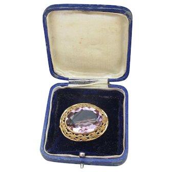 Antique Estate Victorian Rolled Gold & Amethyst Paste Brooch, Original Box