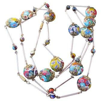 LONG Vintage Millefiori Venetian Art Glass BIG Disk Bead Necklace