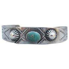 Navajo Native American Vintage Sterling Silver & Turquoise SNAKE Stampwork Cuff Bracelet