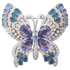 Spectacular NOLAN MILLER Huge Vintage Rhinestone Butterfly Pin