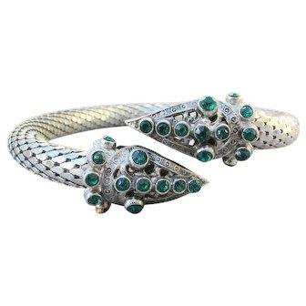 1920's Art Deco Vintage SNAKE Mesh & Rhinestone Upper Arm Cuff Bracelet