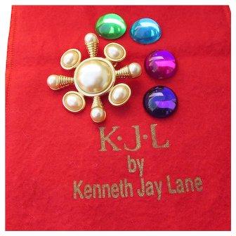MINT In Pouch Vintage Kenneth Jay Lane KJL Interchangeable Maltese Cross Pin or Pendant