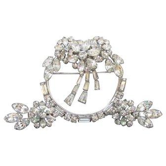 Signed PHYLLIS Sterling Silver 1950's Vintage Brilliant Crystal Rhinestone Pin & Earrings Set