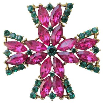 Signed WEISS Vintage Maltese Cross Pink & Green Rhinestone Pin