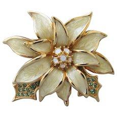 Nolan Miller Vintage White Enamel & Rhinestone Poinsettia Flower Pin, MINT!