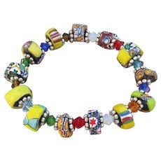 Artisan African Trade Venetian Art Glass Bead & Swarovski Crystal Stretch Bracelet #6