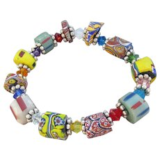 Artisan African Trade Venetian Art Glass Bead & Swarovski Crystal Stretch Bracelet #7
