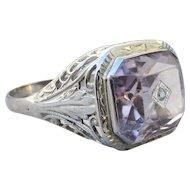 1920's Vintage 18k White Gold Filigree Large Amethyst Diamond Accent Ring