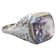 1920's Vintage 18k White Gold Filigree Large Amethyst Diamond Accent Ring
