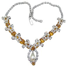Spectacular Vintage Golden Topaz Rhinestone & Faux Pearl Rhodium Necklace