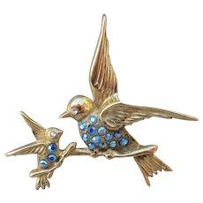 RARE 1950's Vintage CORO Gold Wash Sterling Blue Birds Rhinestone Pin