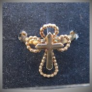 NEW In Box! Sarah Coventry Vintage 1978 Serenity Double Cross Adjustable Gold Tone Ring